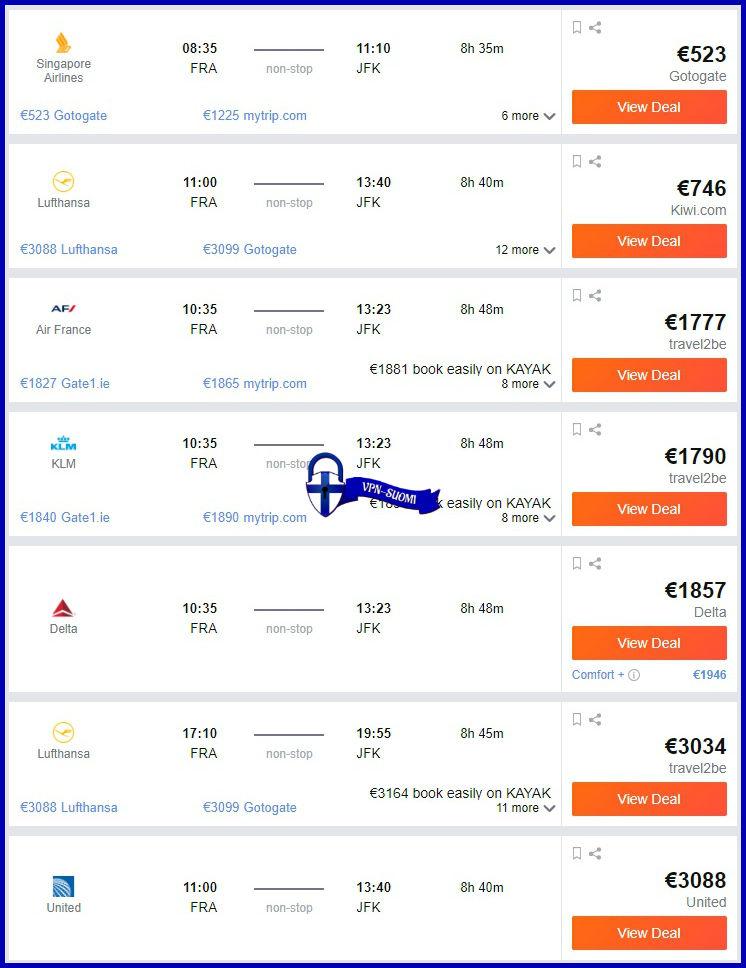 Irlanti-Sijainti Frankfurt-JFK elokuu1 Kayak