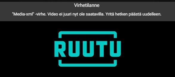 Ruutu.fi virhetilanne